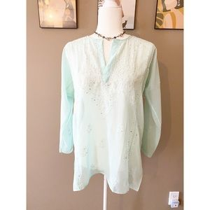 Vintage Blue Sequin Embroidered Cover Up Top
